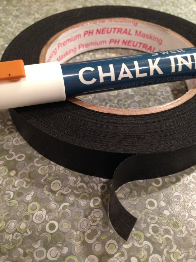 tape and chalk pen
